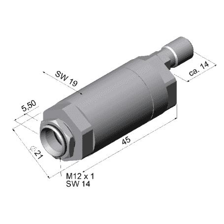 Przedmuch soczewki dla pirometrów z optyką 2:1 (nieodpowiedni dla głowic o dł. 32 mm)