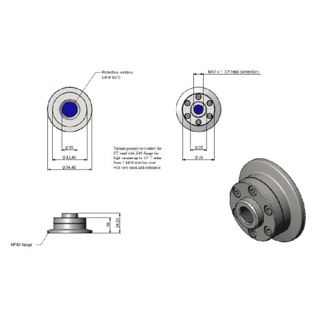 Flansza próżniowa KF40 z oknem B270 (max 10^-7mbar) do pirometrów CT 1M/ 2M/ 3M