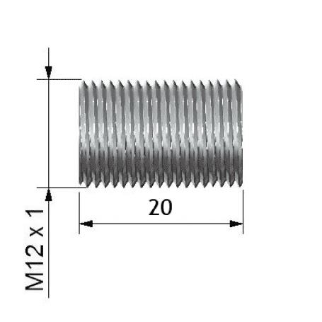 Rurka dystansowa o dł. 20 mm z gwintem zew. M12x1