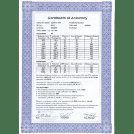 Fabryczny certyfikat kalibracji dla kamery PI