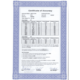 Fabryczny certyfikat kalibracji dla kamery