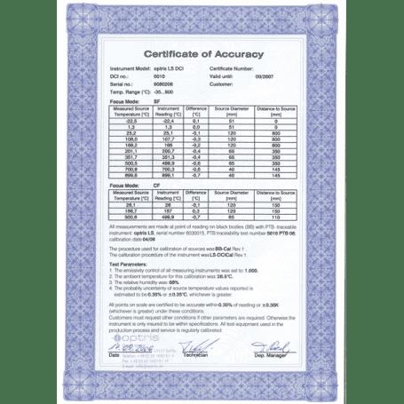 Fabryczny certyfikat kalibracji dla kamery PI1M