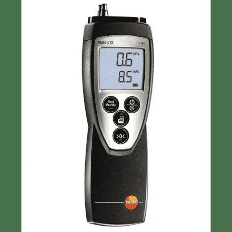 Manometr różnicowy Testo z serii 512 do pomiaru różnicy ciśnień i prędkości przepływu powietrza za pomocą rurki Pitota