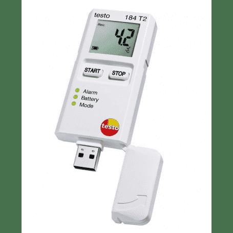 Testo 184 T2 - Jednorazowy rejestrator temperatury z wyświetlaczem dla transportu (150 dni)