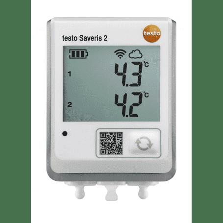 Testo Saveris 2-T2 - Rejestrator temperatury Wi-Fi z wyświetlaczem i 2 zewnętrznymi sondami