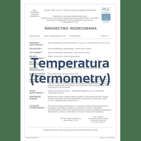 Świadectwo wzorcowania termometru w 3 punktach w laboratorium z akredytacją PCA