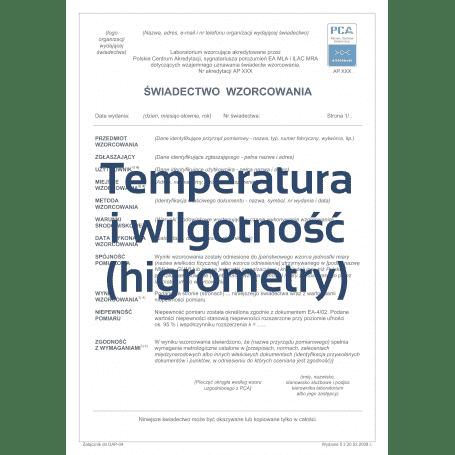 Świadectwo wzorcowania higrometru w 5 punktach w laboratorium z akredytacją PCA