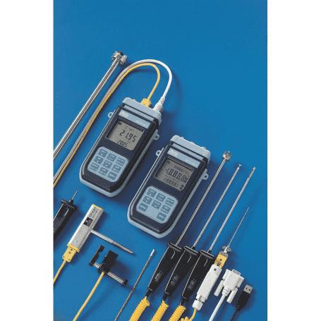 1 i 2-kanałowe termometry termoparowe DeltaOHM HD2108 i HD2128 - widok z sondami termoparowymi