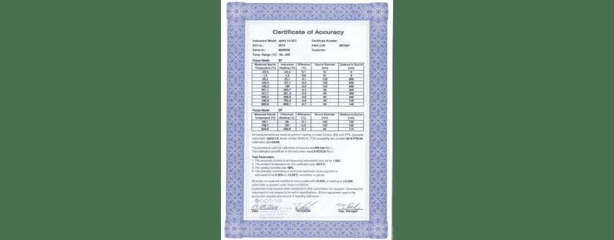 Certyfikaty i świadectwa wzorcowania (kalibracji) dla pirometrów stacjonarnych Optris