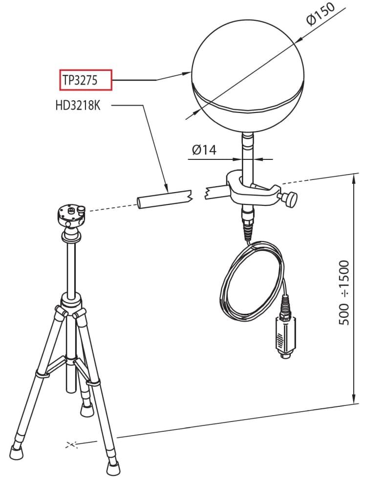 TP3275: Sonda termometru kulistego (poczernionej kuli) o średnicy 150mm