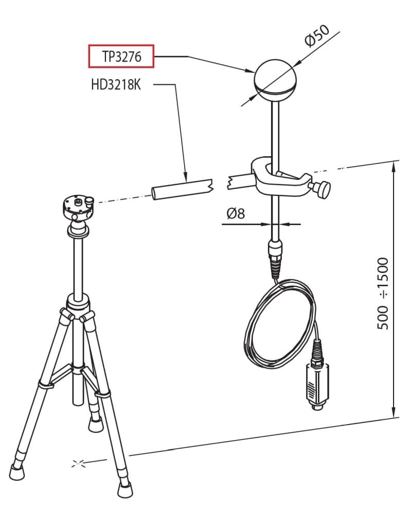 TP3276: Termometr kulisty (poczerniona kula) o średnicy 50mm