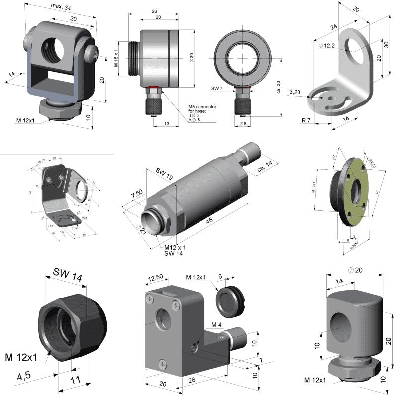 Przykładowe akcesoria do pirometrów stacjonarnych z masywną obudową