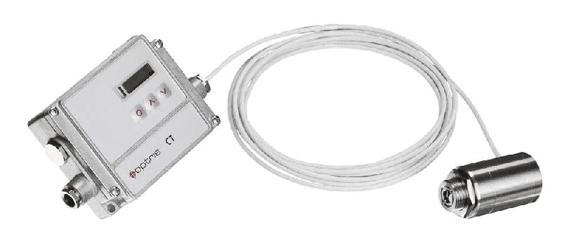Widok kompletnego pirometru Optris CThot LT - głowicy pirometrycznej połączonej z elektroniką
