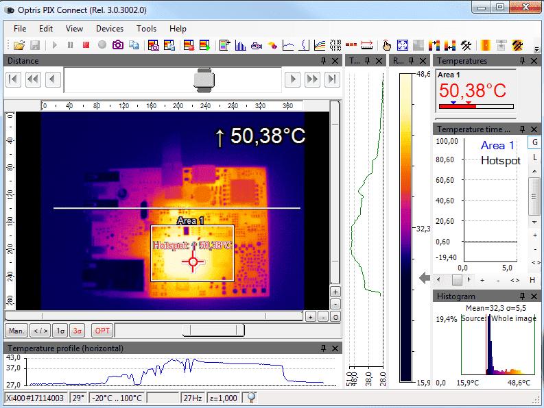 Okno oprogramowania PIX Connect