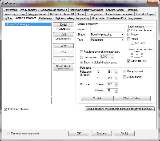 Opcje konfiguracyjne oprogramowania PI Connect