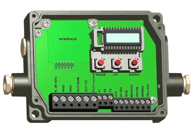 Widok wnętrza elektroniki pirometrów CThot LT