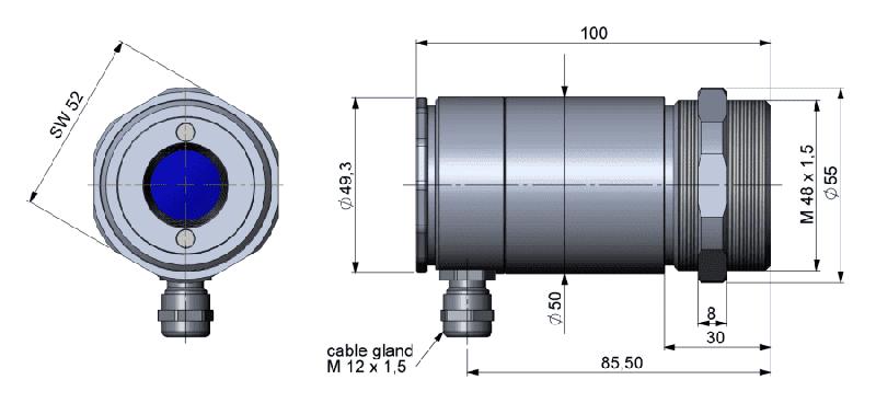 Wymiary głowicy pirometrów z serii High Performance