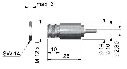 Wymiary głowicy pirometru CSmicro LT, 3M, 2W LT, 2W2M