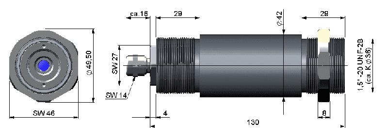 Wymiary głowicy pirometru CX LT