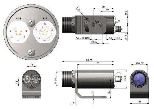 Wymiary kamery termowizyjnej Xi400
