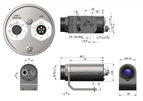 Wymiary kamery termowizyjnej Xi80