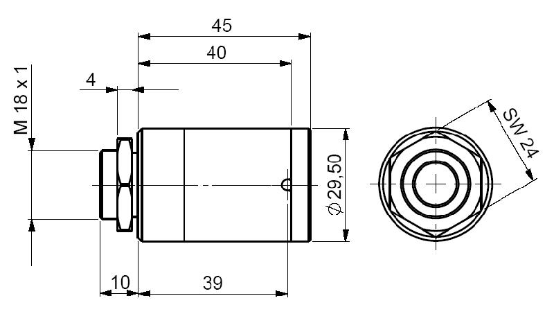Wymiary masywnej obudowy pirometru CThot LT