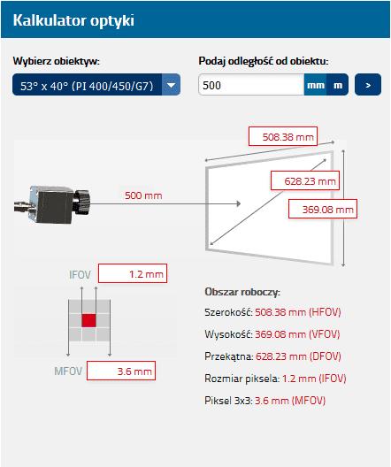 Wymiary obszaru pomiarowego dla optyki O53