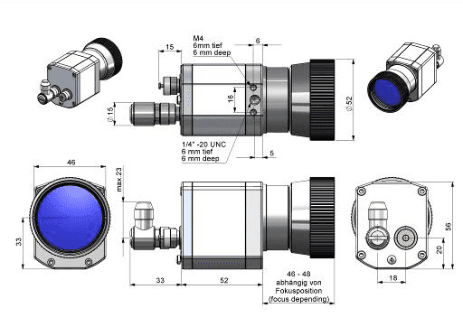 Wymiary obudowy i optyki kamer G7 i PI z optyką O13 lub O15