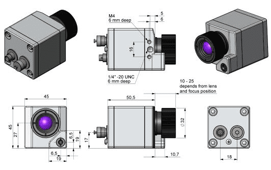 Wymiary obudowy i optyki kamer PI200 i PI230