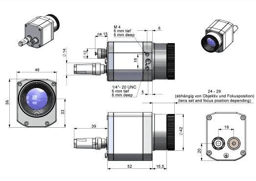 Wymiary obudowy i optyki kamer PI400, PI450 i PI640