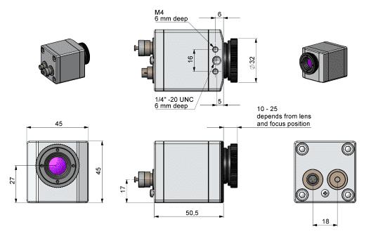 Wymiary obudowy i optyki kamery PI160
