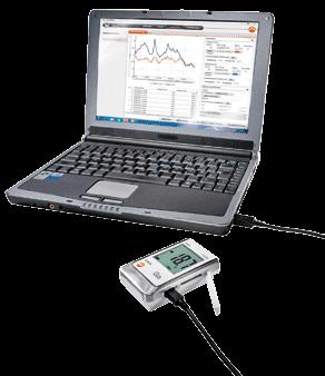 Rejestrator Testo podłączony do komputera przez USB